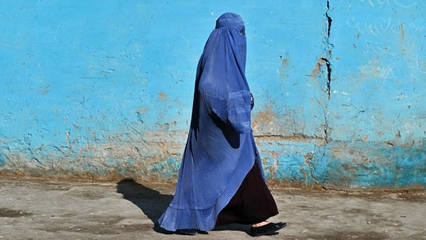 burqa on blue