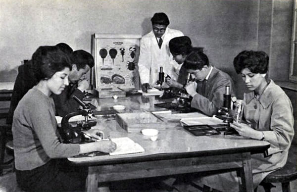 1950s_Afghanistan_-_Biology_class,_Kabul_University