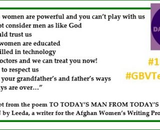 Afghan Women Writers Join the Twitter #GBVTeachin for #16Days of Activism Against Gender-Based Violence
